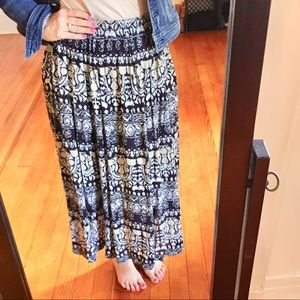 Vintage '90s BOHO Skirt Blue Tan Midi Skirt